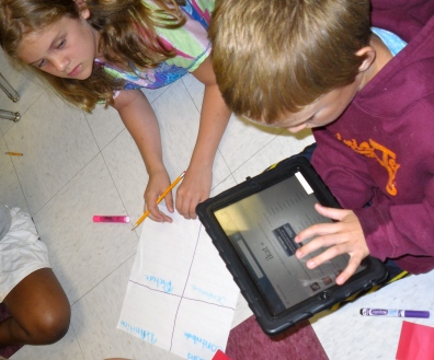 Students define words from their iPads