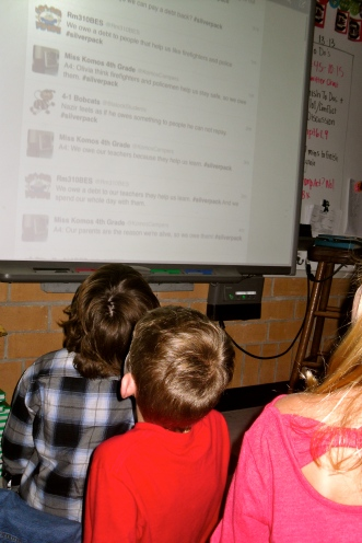 Students read tweets from other classrooms!