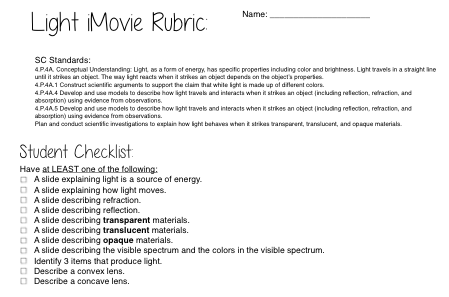 Light iMovie Rubric